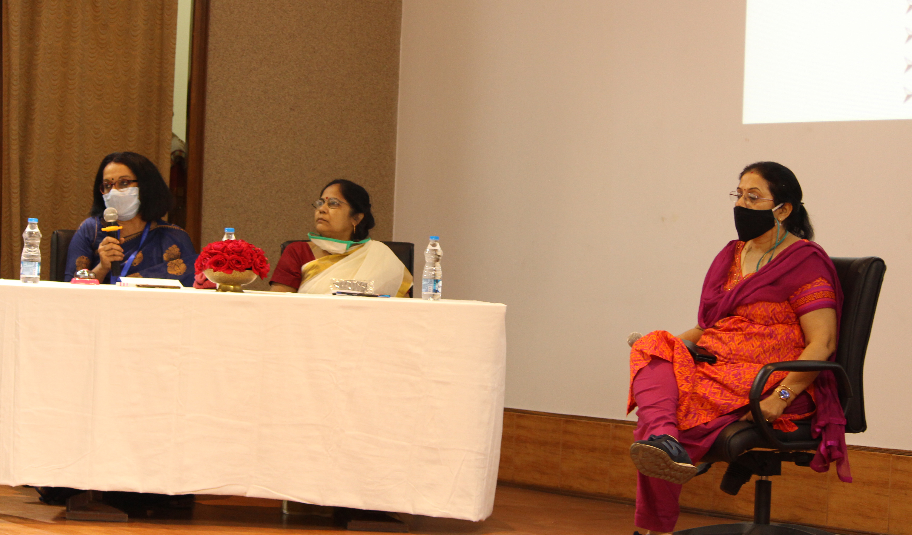 Panel discussion. Dr Jui Chakraborty with mike in hand. Dr Chandana Patra (middle) and Director, CSIR-CGCRI to the right.