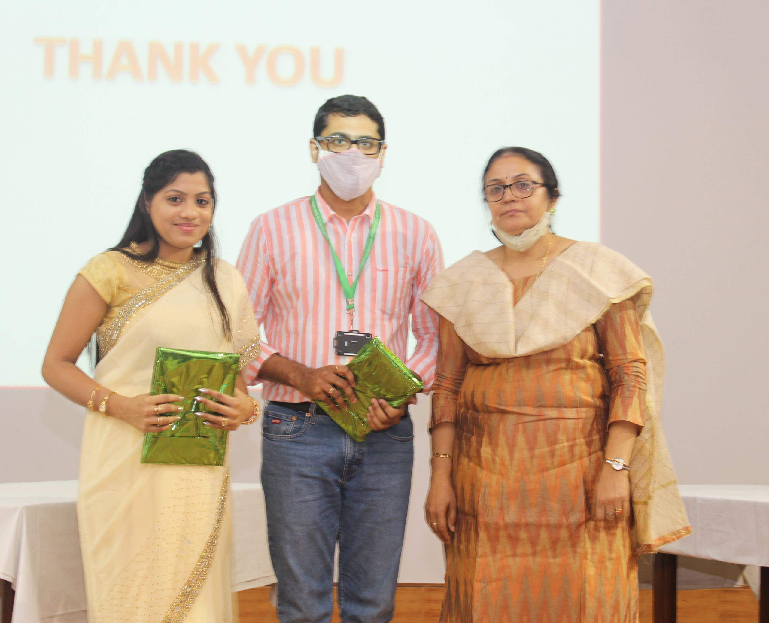 Director along with the two Speakers of the National Science Day- Ms Karthiga P, JRF-GATE and Mr Nirman Chakraborty, SRF-INSPIRE