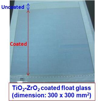 Developed transparent coatings (TiO2-ZrO2) on glass with reflection values >30 % in the Visible-NIR region (dimension: 300 x 300 mm2)